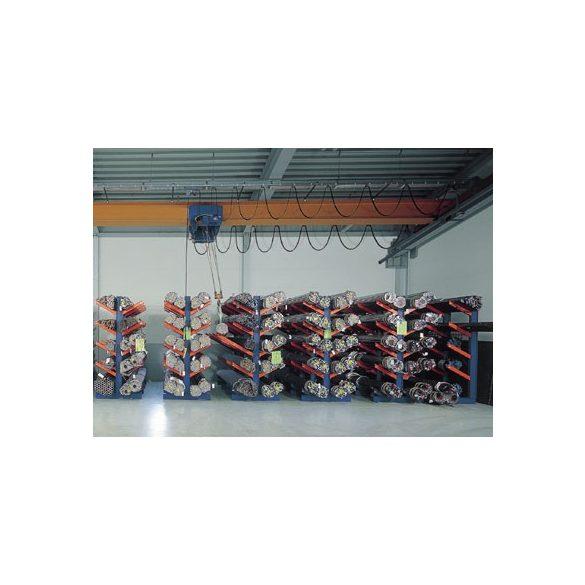Konzolos állvány ferde konzolokkal, egy oldalas, 6 db állvány, 5 db rakodószint, 4300x1120x2000 mm