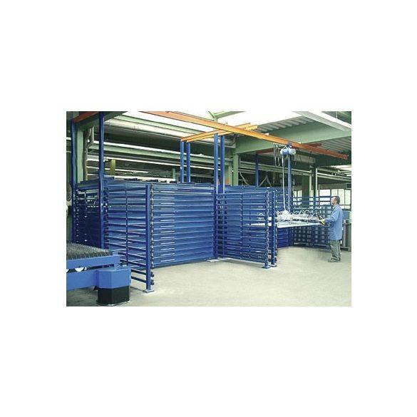 Fiókos polcrendszer táblalemez tárolására, 2750x2100x2000 mm