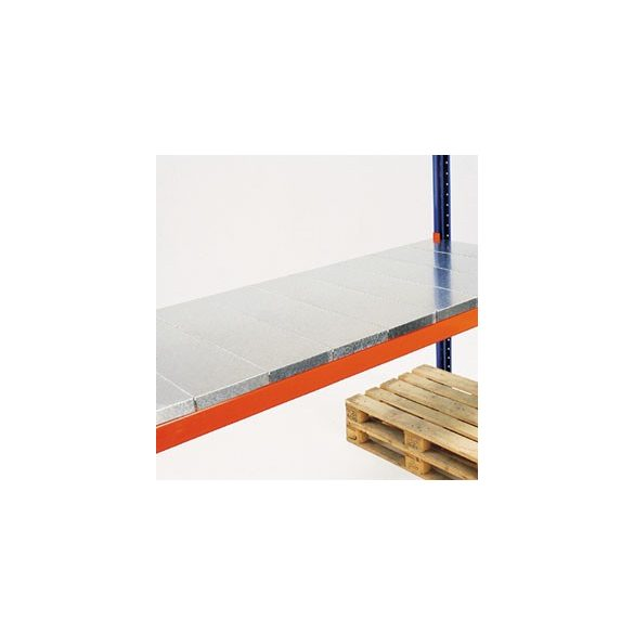 Önálló acéllemez polc 1800 mm széles raklapállványhoz, sz x mé x m 300x1100x40 mm, terhelhetőség: 1800 kg/polc