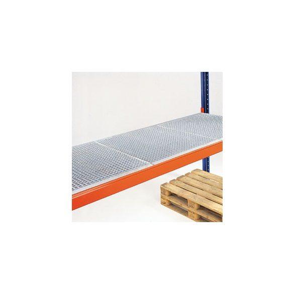 Önálló rácsos polc raklapállványhoz, horganyzott, sz x mé 1800x1100 mm, terhelhetőség: 1700 kg/polc