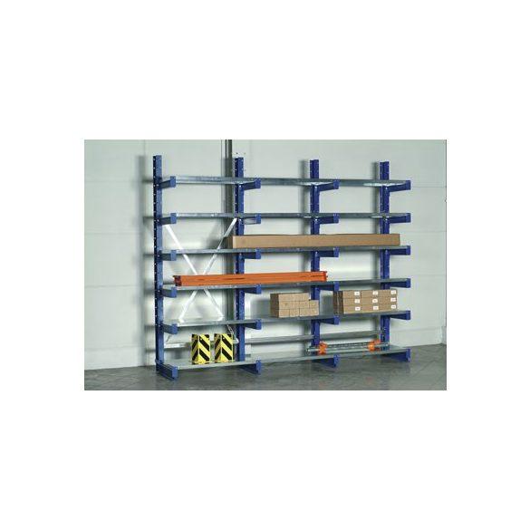 Komplett konzolos állvány acéllemez polccal, egy oldalas, 6 db rakodószint, 3000x620x2500 mm
