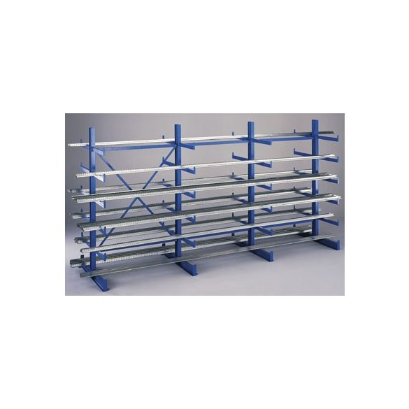 Konzolos állvány acéllemez polccal, két oldalas, alap építmény, 5 db rakodószint, 1000x1120x2000 mm