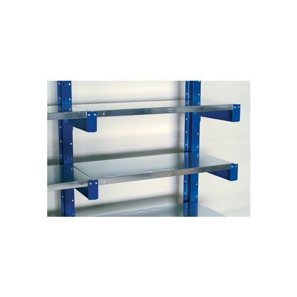 Konzolos állvány acéllemez polccal, két oldalas, 6 db rakodószint, 1000x1120x2500 mm, alap építmény