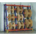 Polcrendszer kábel-dob tárolására, 3x2 db tengelytartóval, 1100x620/1000x2730 mm, terhelhetőség: 3000 kg, bővítmény