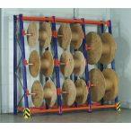 Polcrendszer kábel-dob tárolására, 3x2 db tengelytartóval, 1100x530/1000x3360 mm, terhelhetőség: 3000 kg, alap építmény