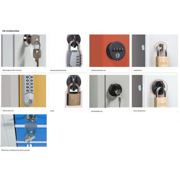Rövidajtós öltözőszekrény 6 ajtós