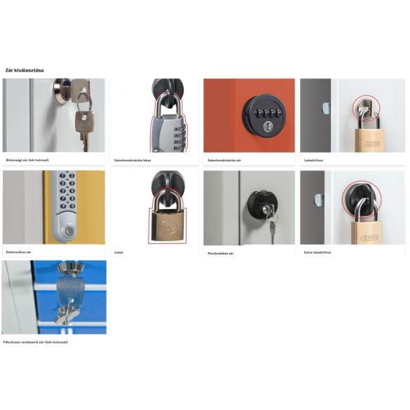 Rövidajtós öltözőszekrény 8 ajtós